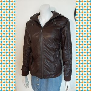 Faux leather brown jacket -warm new wih tags!